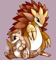 Day 11 - Sandshrew, Sandslash by SpaceSmilodon