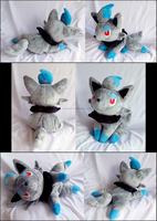 Shiny Zorua Laying Plush by xBrittneyJane