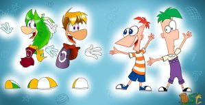 Rayman, DaSh, Phineas and Ferb :D by the-dashket