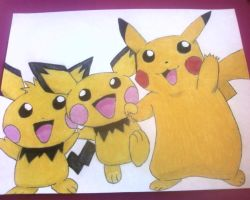 Pikachu and the Pichu Brothers by pie1313