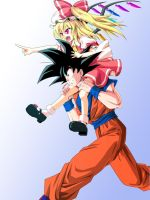 Goku And Flandre Playing Together by LoveCrossover