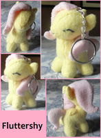 Miniature Fluttershy Plushie Keychain by DemonGirlRose