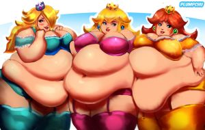 Fat Mario Princess Trio: Peach Rosalina and Daisy by Plumpchu
