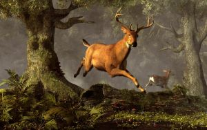 Leaping Stag by deskridge