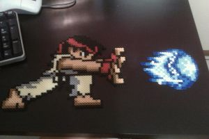 Perler Ryu shoots Hadoukens by cracklebyte