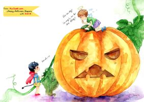 YunJae and Mr. Pumpkin by ThuyAn