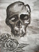 skull and roses watercolour by AsatorArise