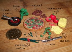 Polymer clay pizza and components by DarkPartOfCarrot