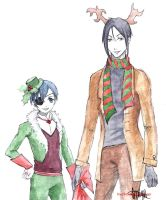 Ciel and Sebastian Christmas ver by frassino