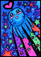 SPACE OCTOPUS! - ACEO trade by tea-bug