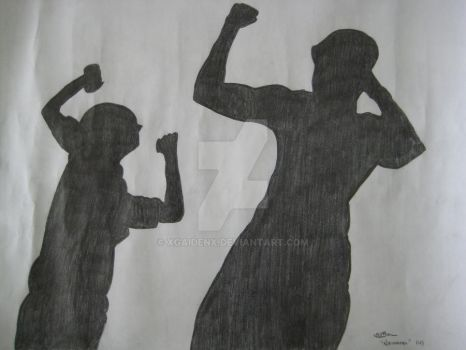 Father and Son Silhouette by xgaidenx