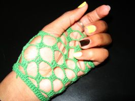 Green fingerless short glove by motheroftheforsaken