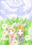 bunnies in the grass by mewe321