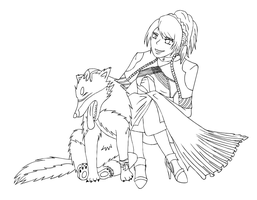 Luna and Umbra Lineart by yishn