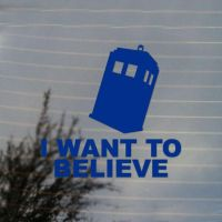 Police Box I Want to Believe Vinyl Decal Sticker by Cosplayfangear