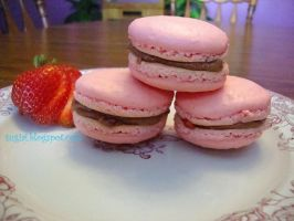 Strawberry Macarons by SugiAi