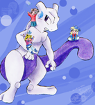 Mewtwo and Chibi Trainers by JB-Pawstep