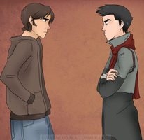 The Sulking Brothers Meet by MerriTheDoodler