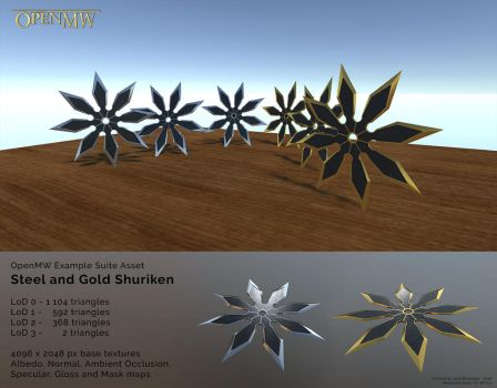 Steel and Gold Shurikens for OpenMW by Berandas