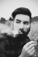 The smoking bearded man by Estelle-Photographie