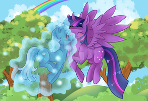 :C: Trixie and Twilight Sparkle by ThePandaCaffe