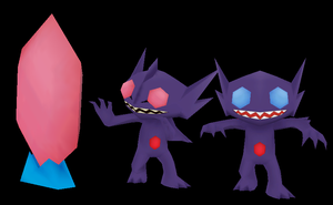 Sableye and  Mega Sableye papercraft by javierini