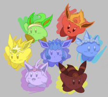 Eeveelution Kirbys colored by MathiasMeioh