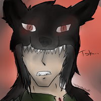 Art Trade ~ Black Wolf by TheCryinShadow
