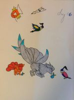 Day 06 Ninetails and Vulpix by starkittens