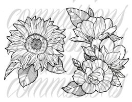 Commissions tattoo flowers by OniBaka
