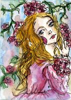 Lady of the flowers ACEO by dyingrose24