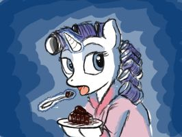 Rarity has a Late Night Snack by Art-Anon