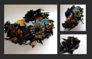 Blue and black flower bracelet by julishland