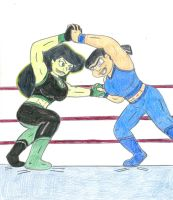 Wrestling Shego vs Eva by Jose-Ramiro