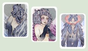 [ACEOs] werewolf gals - for sale by a-lonely-me