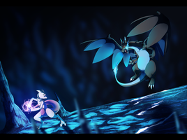 Mewtwo VS Lizardon by Konveekou