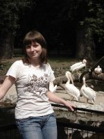 Maria with birds in zoo by Lukotus