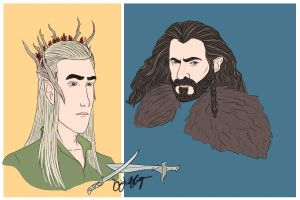 Thranduil and Thorin Oakenshield Coloured by DennisB-Art