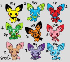 Pichu Adoptables. by BoltIsTheBest