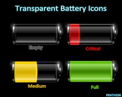 Transparent Battery Icons by PRATH33K
