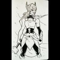Daily Sketches 071: Lady Thor by AndrewKwan