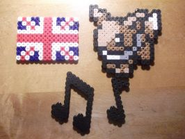 Perler Bead - Union Flag, Eevee and Music Notes by hyper-evil-aly39