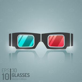 Cinema Glasses Flat Isolated Vector by madjarov
