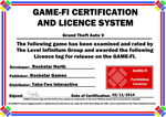 Grand Theft Auto V Game-Fi Certificate by LevelInfinitum