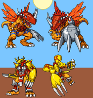 Greymon Evolutions by hitmonchu