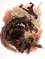 Spidey VS Venom by Mikuloctopus