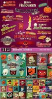 Halloween, labels, captions and backgrounds vector by ouksha