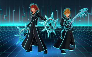 Tron Axel and Roxas wallpaper by RoxasTsuna
