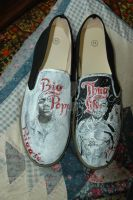 Tupac and Biggie shoes by societymisfit