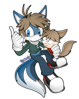 (COMM) Sonic SA Style .:Mike The Fox and Keru:. by MimiGuerrero